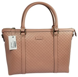 Gucci Leather New Strap Satchel in Soft Pink