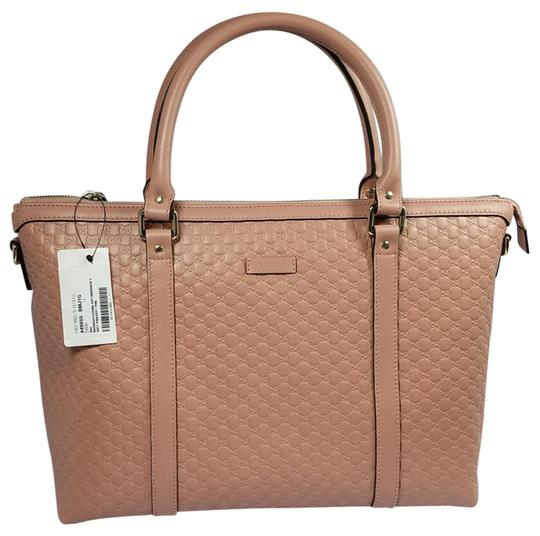 Preload https://item2.tradesy.com/images/gucci-nwts-449655-lrg-top-zip-microguccissima-tote-wstrap-soft-pink-leather-satchel-22001536-0-4.jpg?width=440&height=440