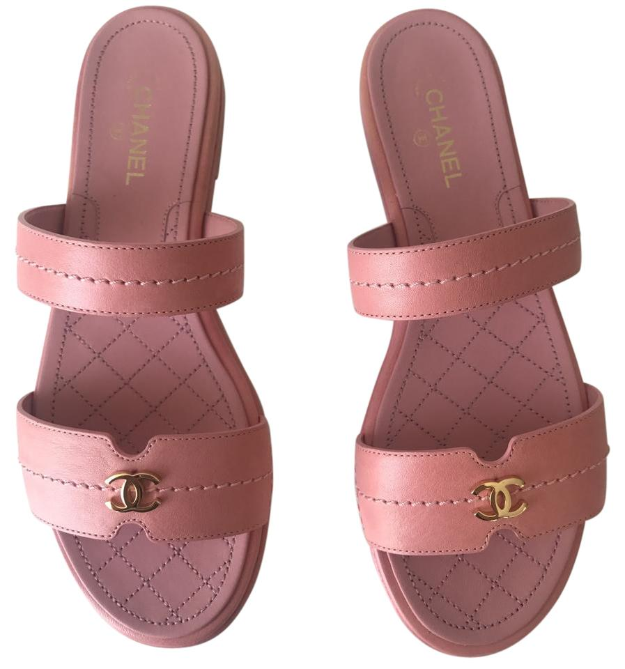 5d2a38bdade7 Chanel Pink Classic Leather Cc Quilted Slip On Slides Sz. Euro Sandals. Size   EU 37 (Approx. US 7) ...