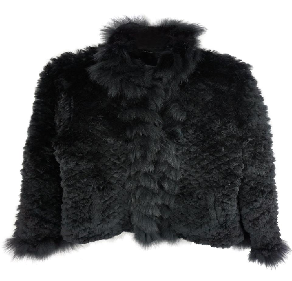 neiman marcus black knitted rabbit fur coat casual or. Black Bedroom Furniture Sets. Home Design Ideas