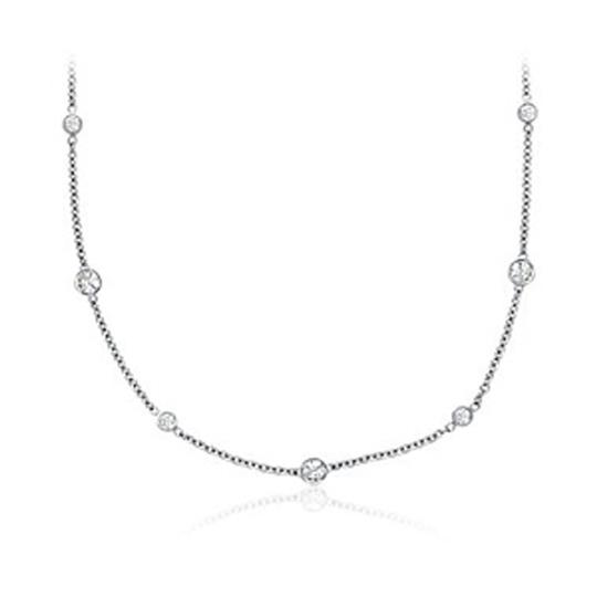JewelryNest JewelryNest 14k Solid Gold Round Diamonds By The Yard Necklace