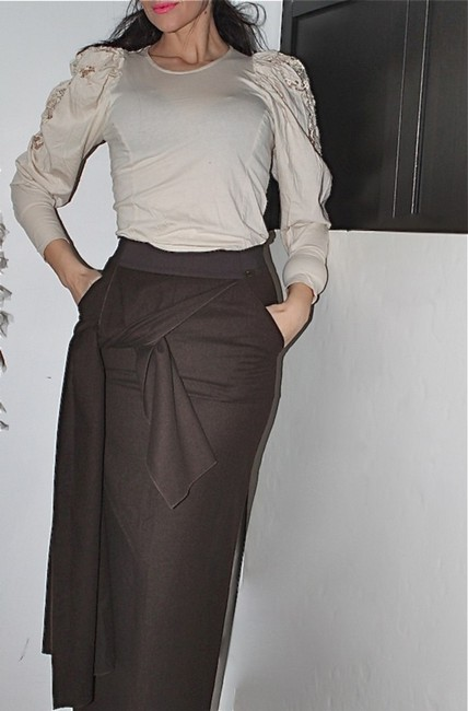 Chanel Long Maxi Skirt Brown