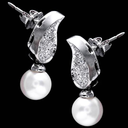 Vintage Diamond and Pearl Dangle Stud Earrings in 14K White Gold