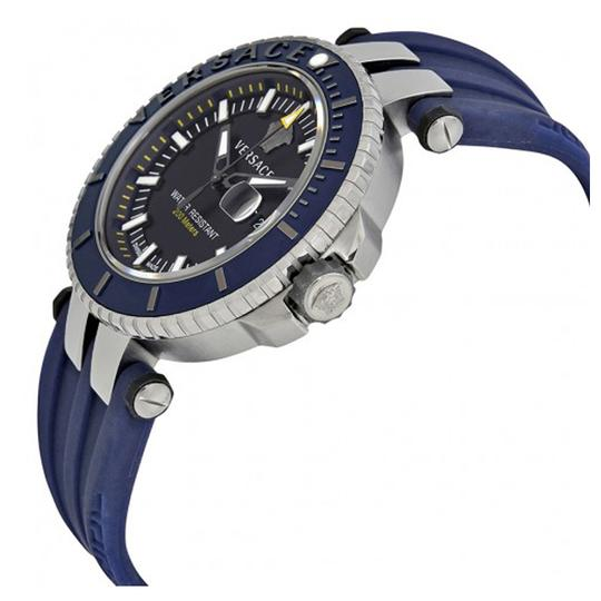 Versace V Race Date Diver Blue Dial Men's Rubber Watch