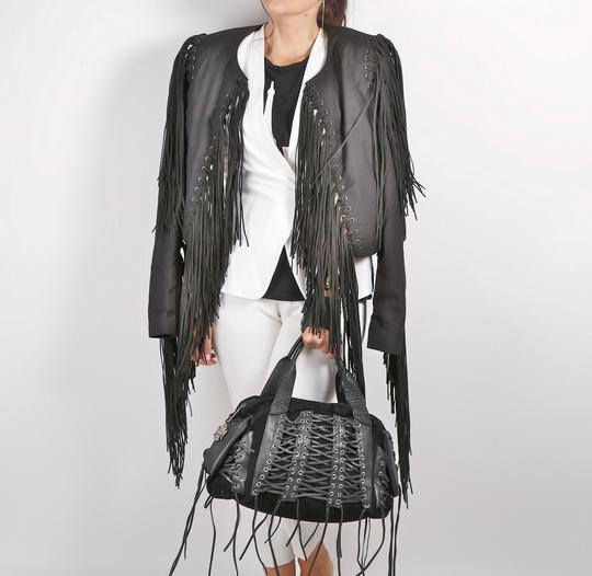 CBGB & OMFUG Fringe Satchel in Black