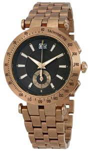 Versace V-Race Kaki Dial Men's Bronze Steel Watch With Leather Strap