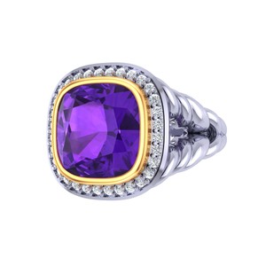 Two-tone Sterling Silver Gold Amethyst Diamond Majestic Ring