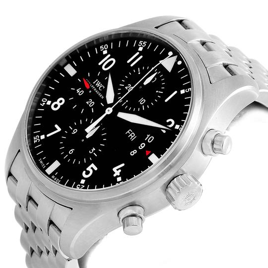 IWC IWC Pilot Black Dial Chronograph Mens Watch IW377704 Box Papers