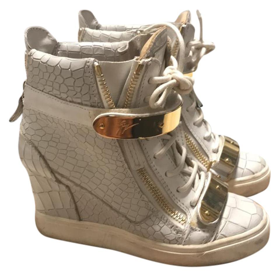 2c16728e753c0 Giuseppe Zanotti White High Top Croc Print Gold Bar .