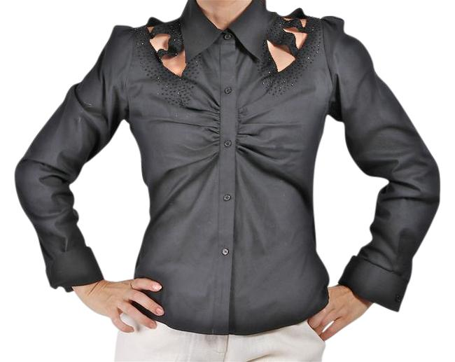 Preload https://item5.tradesy.com/images/catherine-malandrino-black-shirt-blouse-button-down-top-size-6-s-22002184-0-1.jpg?width=400&height=650