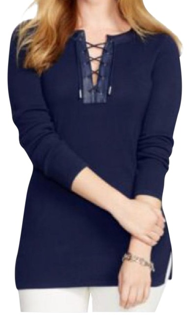 Preload https://item3.tradesy.com/images/ralph-lauren-white-navy-blue-faux-leather-sweaterpullover-size-22-plus-2x-22002252-0-1.jpg?width=400&height=650