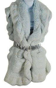 Baby Blue Knitted Rex Rabbit Stole