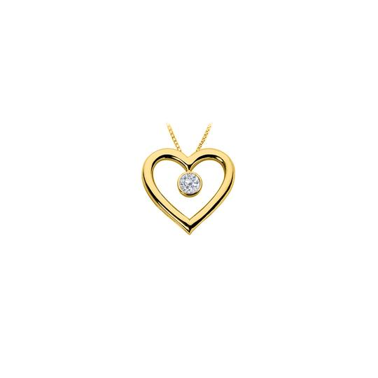Marco B Cubic Zirconia Heart Pendant with 18K Yellow Gold Vermeil Sterling AG
