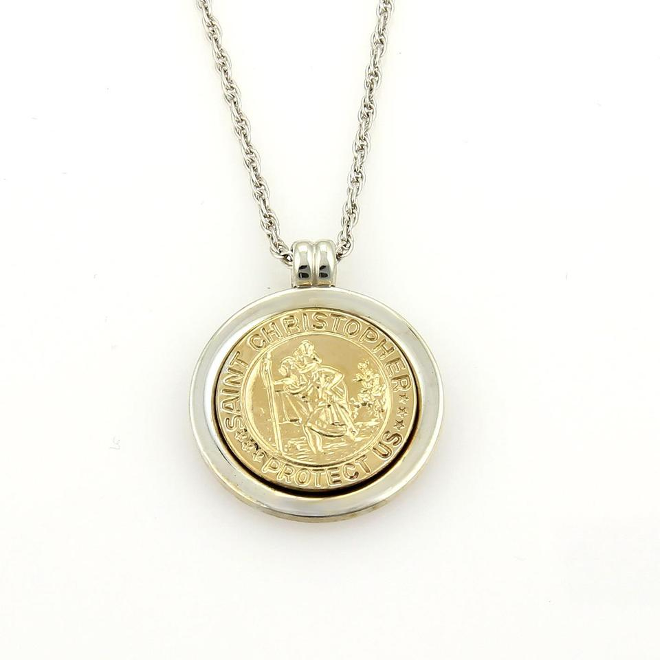 Tiffany co sterling yellow gold 18k silver saint christopher saint christopher pendant necklace 1234 aloadofball Gallery