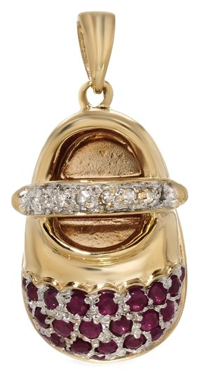 Other 14K Yellow Gold Diamonds and Rubies Baby Shoe Pendant