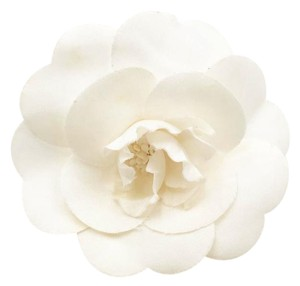 Chanel Chanel Ivory Silk Camellia Large Brooch