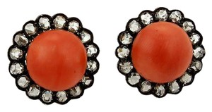 Other Antique 1.50ct Rose Cut Diamonds Coral Stud 14k Gold & Silver Earrings