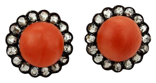 Preload https://img-static.tradesy.com/item/22002574/red-coral-white-diamond-antique-150ct-rose-cut-stud-14k-gold-and-silver-earrings-0-1-540-540.jpg