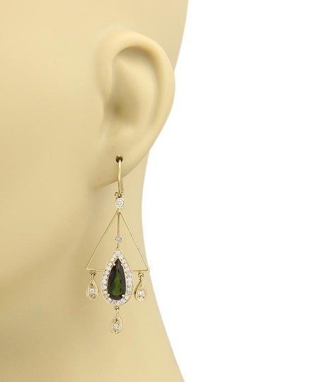 Other 7.15ct Green Tourmaline & Diamond 18k Yellow Gold Chandelier Earrings
