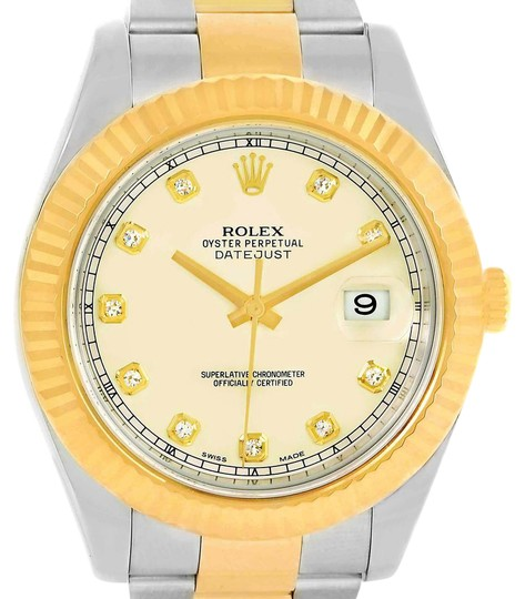 Preload https://item3.tradesy.com/images/rolex-ivory-datejust-ii-steel-yellow-diamond-dial-116333-watch-22002632-0-1.jpg?width=440&height=440