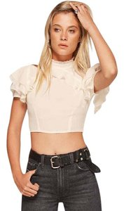Reformation Crop Ruffle Boho Going Out Top Ivory