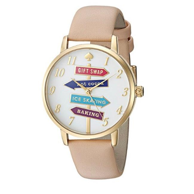Kate Spade Metro Gold & Beige Leather Watch Kate Spade Metro Gold & Beige Leather Watch Image 1