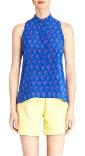 Preload https://img-static.tradesy.com/item/22002784/tucker-blue-silk-multi-sleeveless-henley-top-painting-the-elephant-blouse-size-4-s-0-1-650-650.jpg