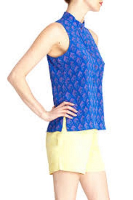 Tucker Sleeveless Top Blue Silk/ Multi
