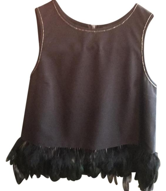Preload https://img-static.tradesy.com/item/22002800/black-with-feathers-and-front-beading-blouse-size-10-m-0-1-650-650.jpg