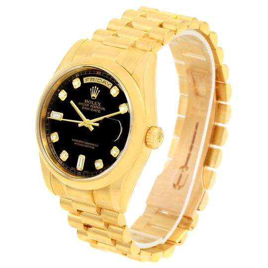 Rolex Rolex President Day Date Yellow Gold Black Diamond Dial Watch 118208