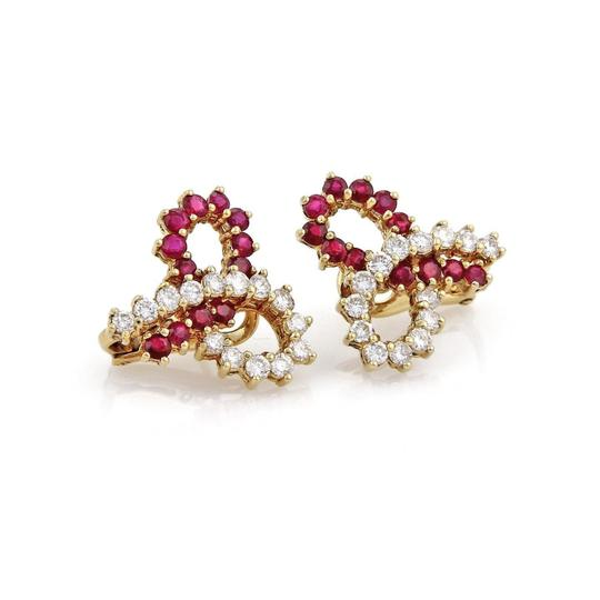 Preload https://item2.tradesy.com/images/red-and-white-estate-430ct-ruby-diamond-18k-ygold-ribbon-bow-post-clip-earrings-22002831-0-0.jpg?width=440&height=440