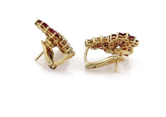 Other Estate 4.30ct Ruby Diamond 18k YGold Ribbon Bow Post Clip Earrings