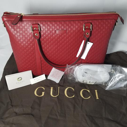 Gucci Leather Pink New Strap Satchel in Red