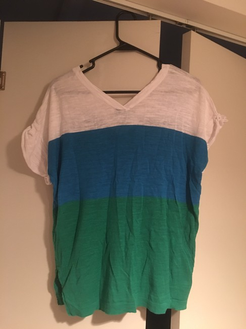 C&C California Cotton Color-blocking Summer Casual T Shirt White, Blue, & Green