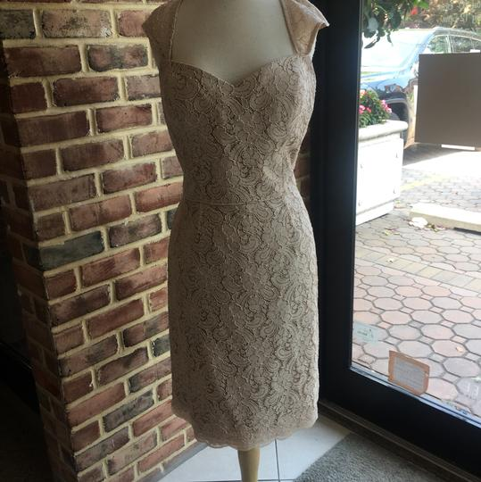 Watters Apricot Lace/ Bronze Lining 8252 Apricot/ 15 Casual Bridesmaid/Mob Dress Size 14 (L)