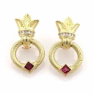 Seidengang 2.20ct Diamonds & Pink Tourmaline 18k Yellow Gold Leaf Hoop Earrings
