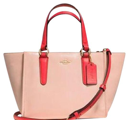 Preload https://item1.tradesy.com/images/coach-crosby-34731-mini-carryall-in-two-tone-colorblock-apricot-and-coral-leather-satchel-22003210-0-2.jpg?width=440&height=440