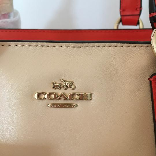 Coach Satchel in Apricot and Coral