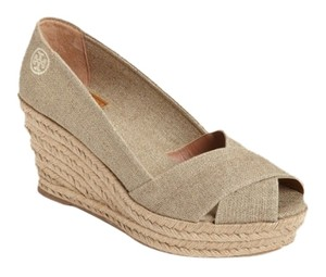 Tory Burch Espadrille Neutral Comfortable Khaki Wedges