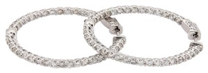 Other New 14K WG Diamond 3.30 Carat Inside Out Diamond Hoop Earrings w/ Safe
