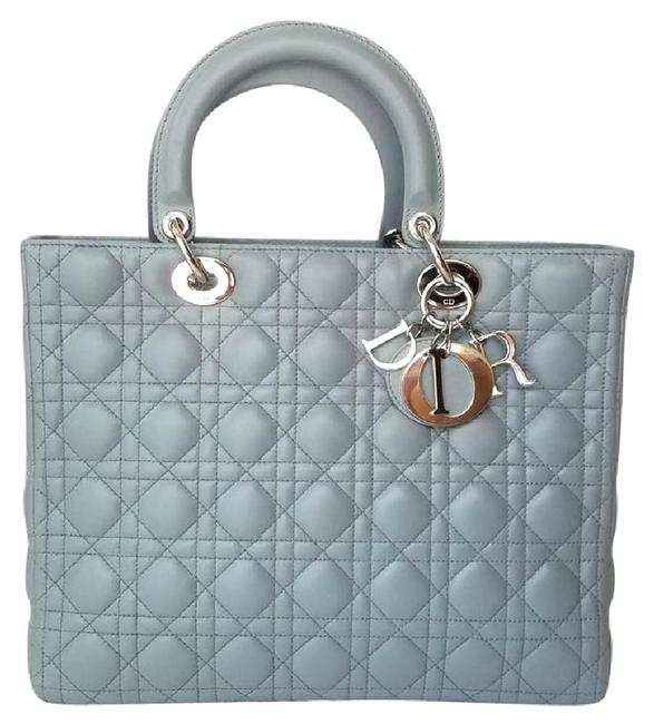 Item - Lady Large Gray Lambskin Leather Tote