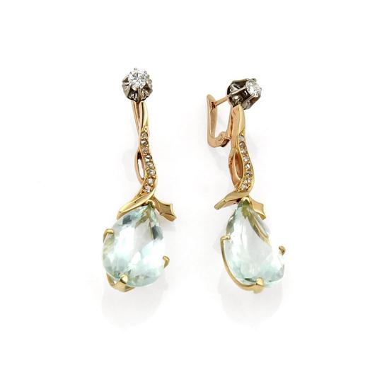 Other Vintage 18.40ct Aquamarine & Diamond 18k Rose Gold Drop Dangle Earring