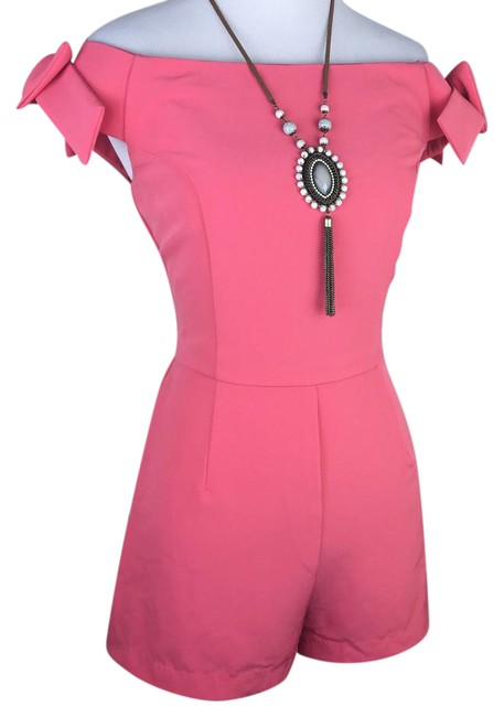 Item - Coral Pink Peach Off The Shoulder Bow One Piece Romper/Jumpsuit