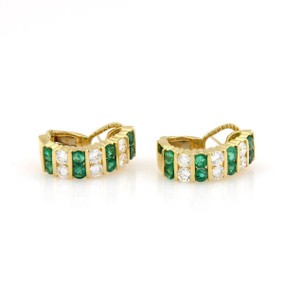 Other 18kt Yellow Gold 5.40tcw Diamond & Emerald Semi Hoop Earrings