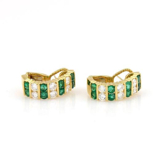 Preload https://img-static.tradesy.com/item/22003460/green-emerald-yellow-gold-18kt-540tcw-diamond-semi-hoop-earrings-0-0-540-540.jpg