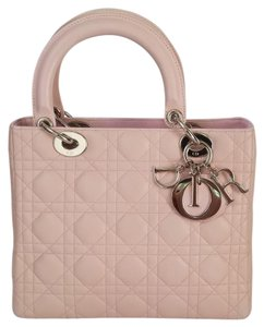 Dior Lady Beige Patent Leather Exclusive Tote in Pink