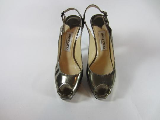 Jimmy Choo Open Toe Slingback Bronze 7.5 metalic gun metal silver Platforms