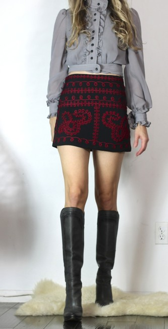 LF Free People Embroidery Russian Ysl 70s Vibe Mini Skirt Red and Black