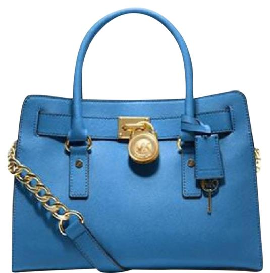 Preload https://img-static.tradesy.com/item/22003667/michael-michael-kors-hamilton-east-west-heritage-blue-saffiano-leather-satchel-0-1-540-540.jpg