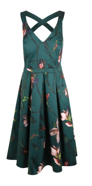 Preload https://img-static.tradesy.com/item/22003720/dorothy-perkins-green-floral-fit-and-flare-short-cocktail-dress-size-12-l-0-2-650-650.jpg